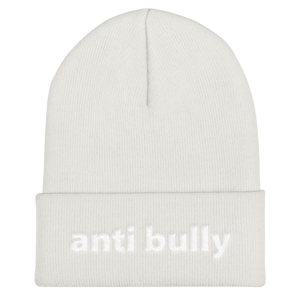 anti bully Cuffed Beanie (white embroidery)