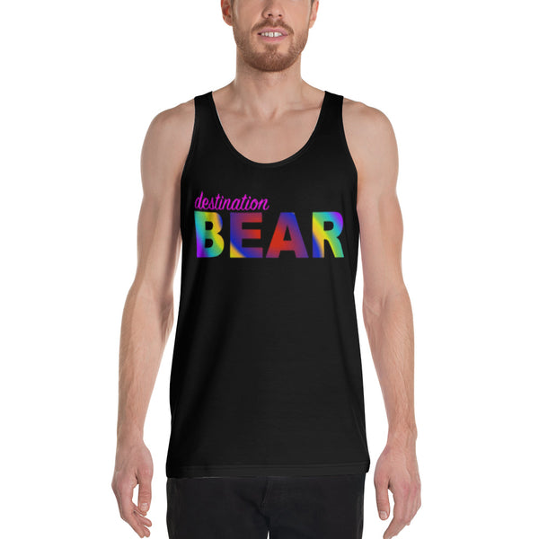 """destination bear"" Unisex Tank Top (rainbow graphic)"