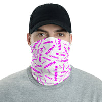 human face mask bike / run / shop / live / be human / be safe pink and white