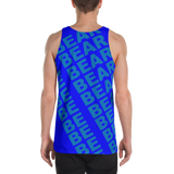 BE BEAR all over print tank top (blue on blue)