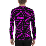 be queer, queer Men's Rash Guard (pink and black all over print)