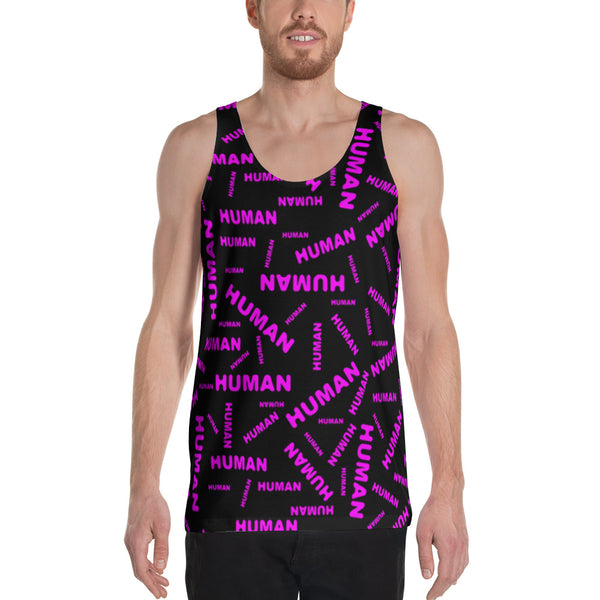 human Unisex Tank Top (pink and black all over graphic)