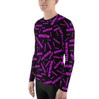 human Men's Rash Guard (pink and black all over graphic)
