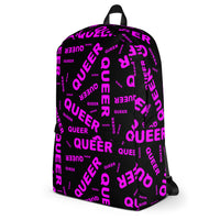 """be queer"" queer Backpack (pink and black all over print)"