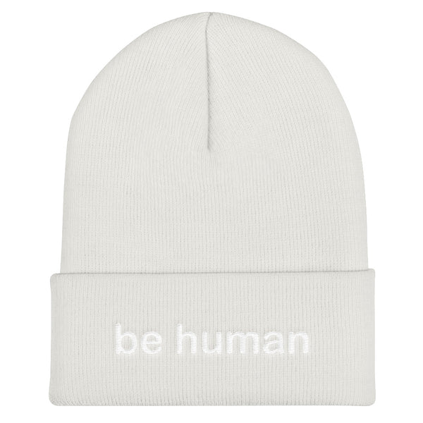 """be human"" Cuffed Beanie (white embroidery)"