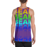 BEAR all over print tank top alternative rainbow gradient on purple background.