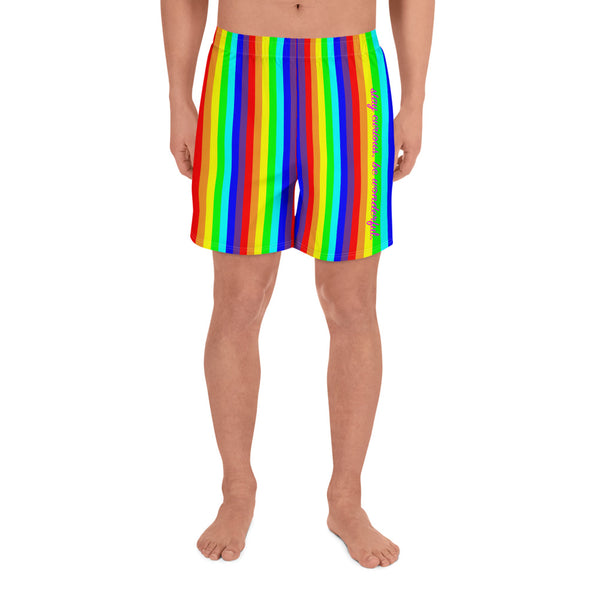 rainbow candy stripe men's athletic long shorts - stay curious, be wonderful. and life is art in pink.