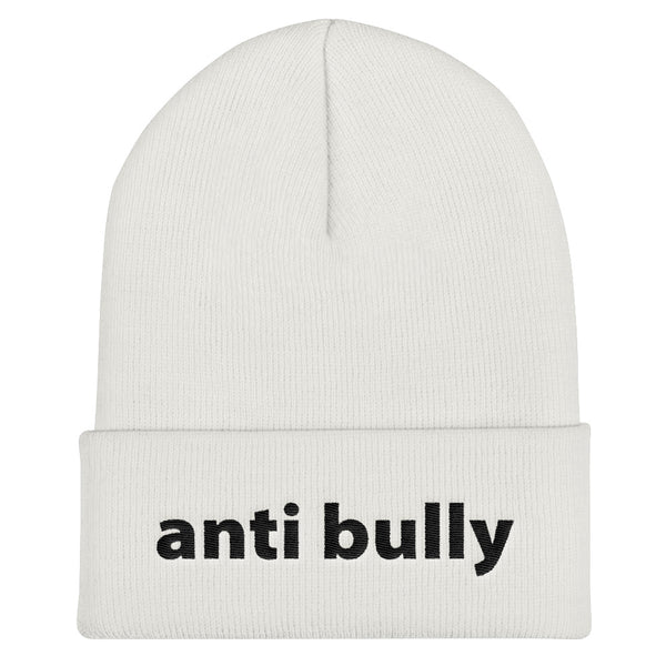 anti bully Cuffed Beanie (black embroidery)