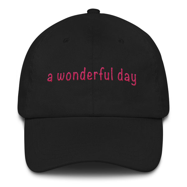 a wonderful day Dad hat (pink embroidery print)