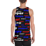 Pup puppy supper woof All-Over Print all gender Tank Top red white and blue on black background