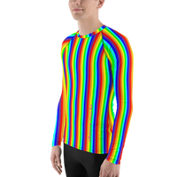 stay curious, be wonderful. rainbow candy stripe Men's Rash Guard long sleeve shirt