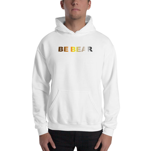 """be bear"" Hooded Sweatshirt (bear flag gradient graphic)"