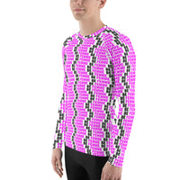 """be femme"" Men's Rash Guard (pink and black all over graphic)"