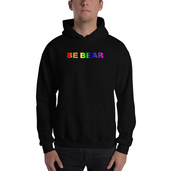 """be bear"" Hooded Sweatshirt (gradient rainbow graphic)"