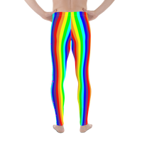 stay curious, be wonderful. rainbow candy stripe Men's Leggings / yoga pants