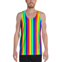 rainbow candy stripe all over print tank top stay curious, be wonderful. in pink. be human pink and white on back.