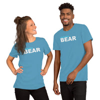"""destination bear"" Short-Sleeve Unisex T-Shirt (light blue and white graphic)"