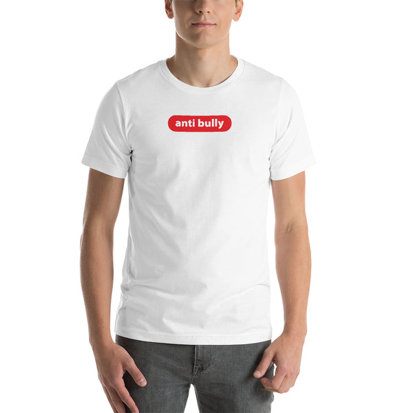 """anti bully"" Short-Sleeve Unisex T-Shirt (red and white graphic)"