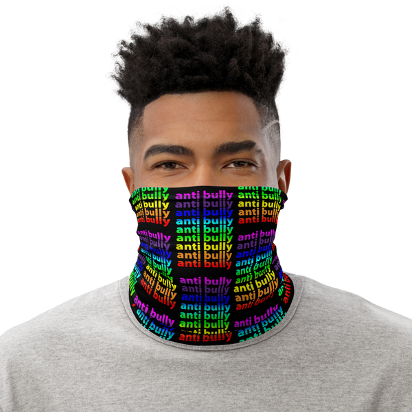 anti bully face mask, perfect for active wear, bike, run, shop, snug comfortable face fit, be safe, be you, be human! gradient on blk