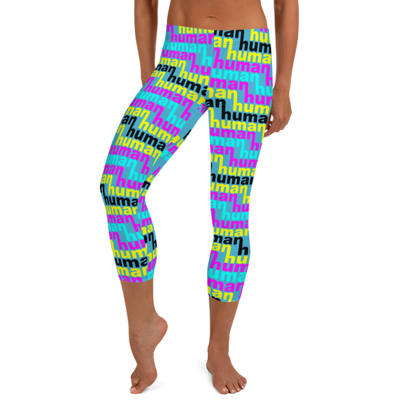 women's human just like you cmyk Capri Leggings