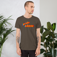 pride stan all gender T-Shirt we stan pride!! be pride stand!! rainbow print.