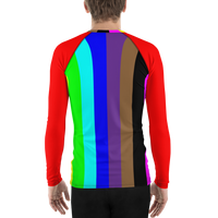 be rainbow candy stripe Men's Rash Guard long sleeve shirt
