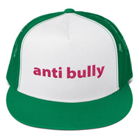 anti bully Trucker Cap (pink embroidery)