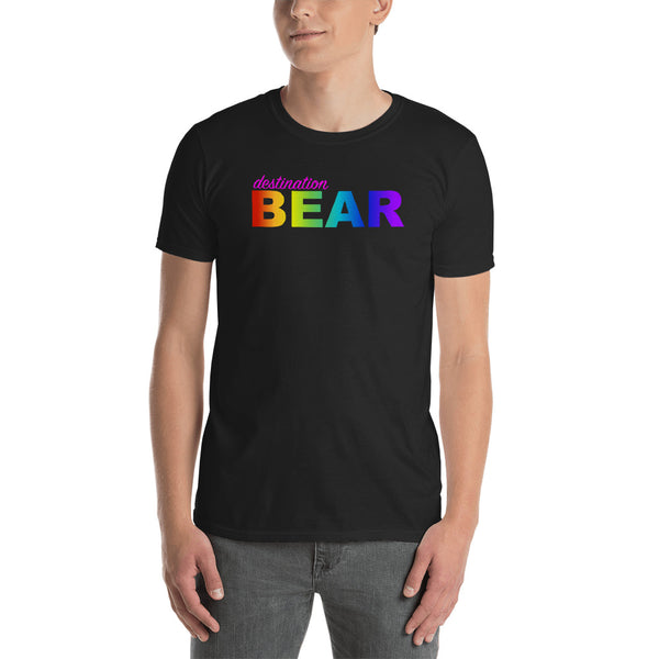 """destination bear"" Short-Sleeve Unisex T-Shirt (rainbow graphic) promo line"