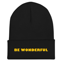 BE WONDERFUL gold embroidery beanie hat