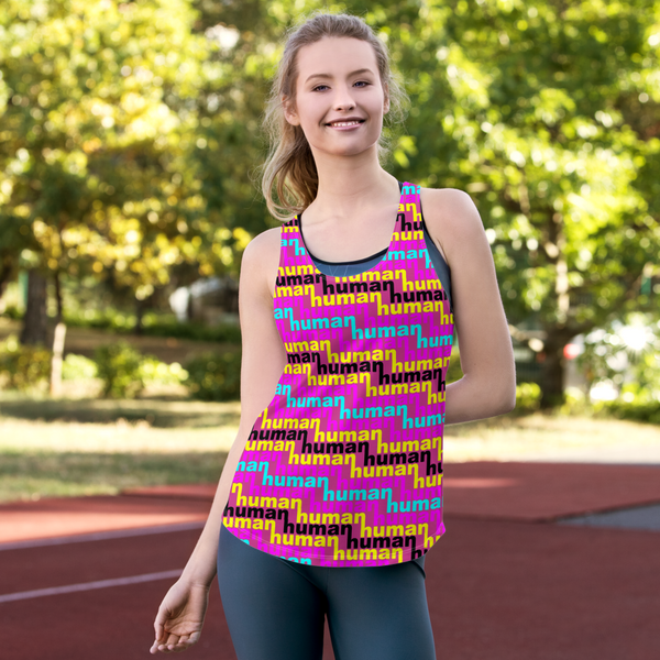human just like you cmyk Women's Racerback Tank