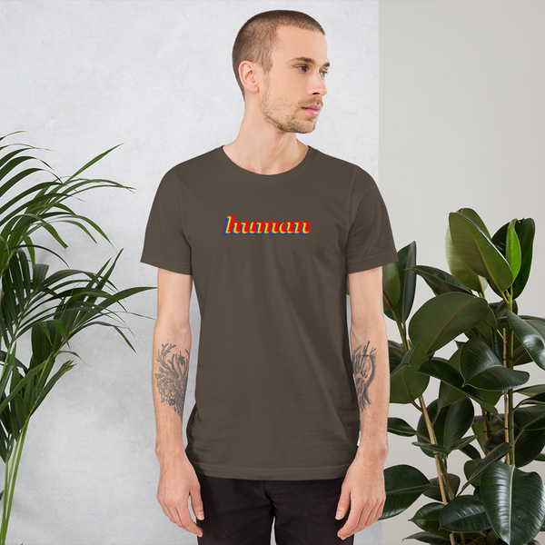 human pride all gender T-Shirt be human! rainbow print.