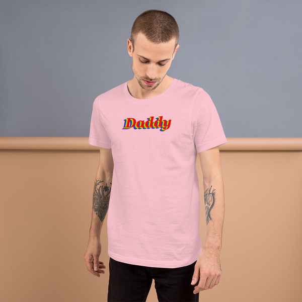 pride daddy T-Shirt be daddy! rainbow print.