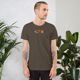gay pride all gender T-Shirt be gay! rainbow print.