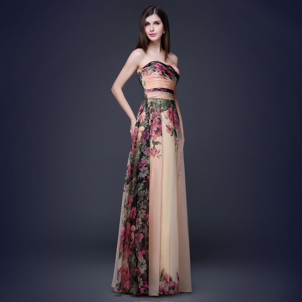 The Nicole Lyons Floral Print Chiffon Evening Gown