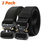 Fairwin Tactical Belt 2 Pack 1.5 Inch Military Tactical Belts for Men - Carry Tool Belt Black and Black