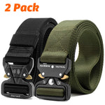 Fairwin Tactical Belt 2 Pack 1.5 Inch Military Tactical Belts for Men - Carry Tool Belt Black and Amy Green