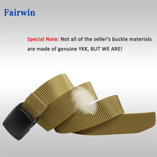 Load image into Gallery viewer, Fairwin Adjustable Nylon Web Belt with Removable YKK Plastic Buckle, Nickel Free Hiking Belt