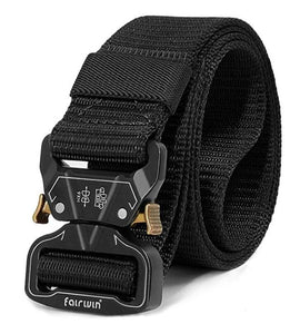 Fairwin Tactical Belt for Men, Military Style Nylon Web Belt with Heavy-Duty Unique Quick-Release Metal Buckle