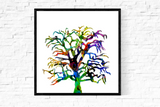 """psychedelic oak tree"" nature illustration print"