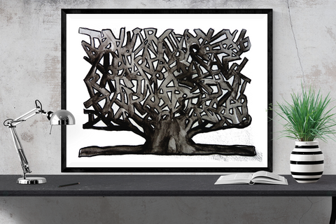 """black and white watercolor tree"" art print"