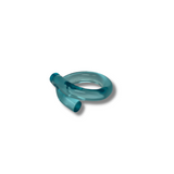 Ice Blue JELLY WORMS lucite  ring size 8 - smellthecactus