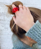 Red lucite KNOT ring size 7 - smellthecactus