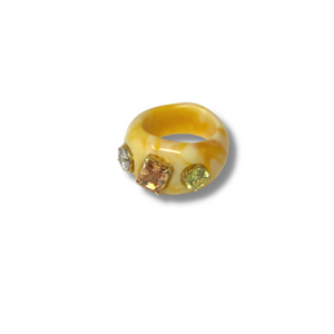Yellow lucite ring with semi precious stones Size 6 - smellthecactus