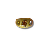 Yellow lucite ring with semi precious stones - smellthecactus
