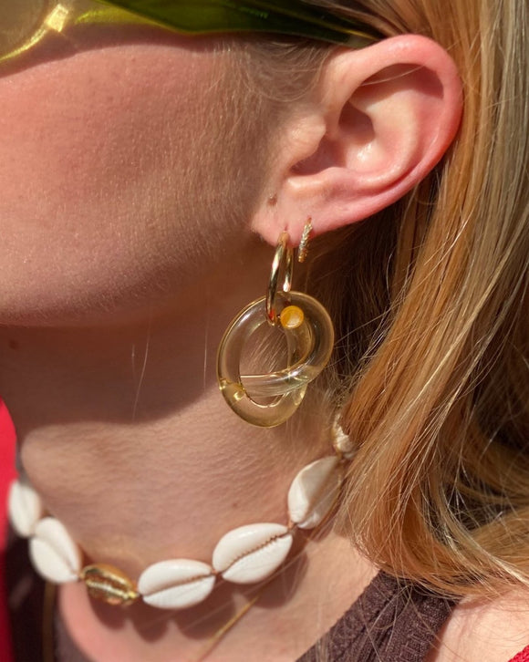 Gold Hoops and clear lucite pendant earrings - smellthecactus