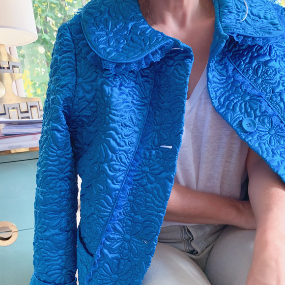Turquoise 70s Peter Pan Silk Bed Jacket - smellthecactus