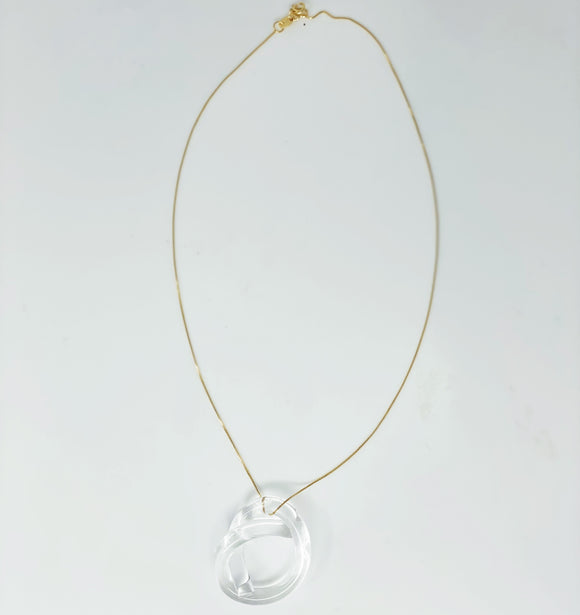 Gold necklace with clear lucite infinity charm - smellthecactus