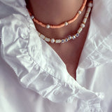 Candy pearl peach necklace - smellthecactus