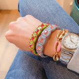 Pink Enamel and gold shell bracelet - smellthecactus
