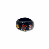 Black lucite ring with semi precious stones - smellthecactus